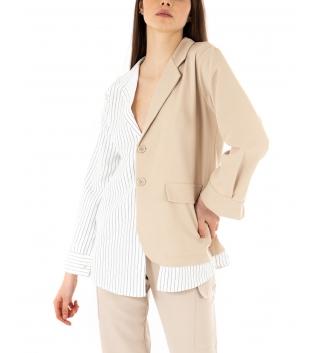 Giacca Donna Maniche Lunghe Bicolore Blazer Righe Colletto Camicia Beige GIOSAL-Beige-TAGLIA UNICA