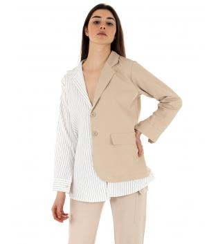 Giacca Donna Maniche Lunghe Bicolore Blazer Righe Colletto Camicia Beige GIOSAL