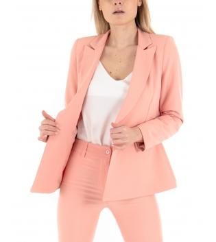 Giacca Donna Blazer Rosa Maniche Lunghe Eiki Colletto Casual GIOSAL