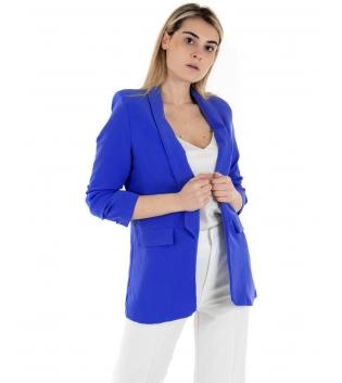 Giacca Donna Blu Royal Blazer Tinta Unita Classica Casual Maniche Lunghe GIOSAL