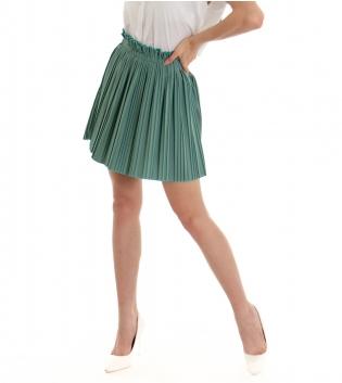 Gonna Donna Plissettata Tinta Unita Verde Elastica Caramella Vita Alta GIOSAL