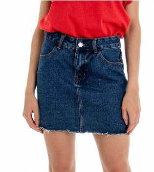 Gonna Donna Jeans Denim Blu Slim  Minigonna GIOSAL