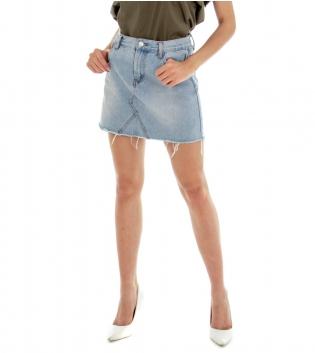 Gonna Donna Jeans Denim Chiaro Slim  Minigonna GIOSAL