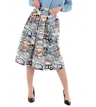 Gonna Donna Eiki Multicolore Stampe Fumetti Ampia Elastico GIOSAL