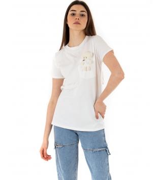 T-shirt Donna Maniche Corte Bianco Teddy Girocollo Casual GIOSAL