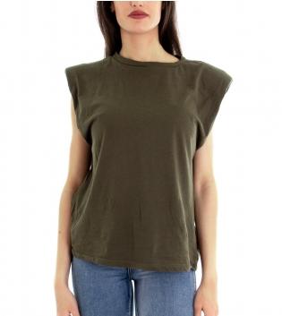 T-shirt Donna Maglia Cotone Giromaniche Spalline Imbottite Tinta Unita Verde Girocollo GIOSAL-Verde-TAGLIA UNICA