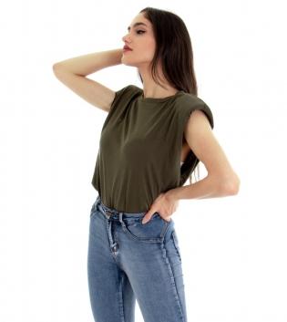T-shirt Donna Maglia Cotone Giromaniche Spalline Imbottite Tinta Unita Verde Girocollo GIOSAL