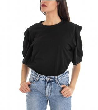 T-shirt Donna Basic Tinta Unita Nera Girocollo Maniche 3/4 Sbuffo GIOSAL