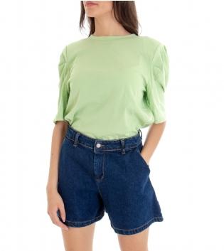 T-shirt Donna Basic Tinta Unita Verde Girocollo Maniche 3/4 Sbuffo GIOSAL-Verde-S