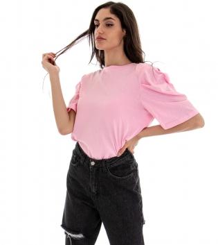 T-shirt Donna Basic Tinta Unita Rosa Girocollo Maniche 3/4 Sbuffo GIOSAL