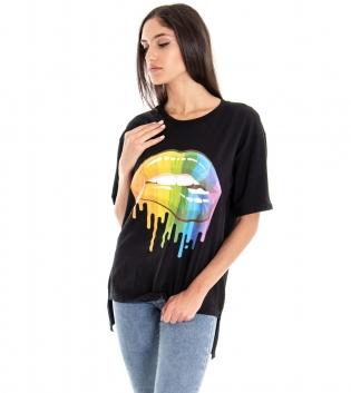 T-shirt Donna Tinta Unita Nera Stampa Labbra Multicolore Girocollo GIOSAL