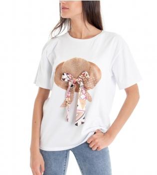 T-shirt Donna Tinta Unita Bianca Stampa Fiocco Multicolore Girocollo GIOSAL