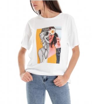 T-shirt Donna Tinta Unita Bianca Stampa Foto Girocollo GIOSAL
