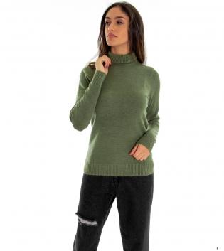 Maglia Donna Collo Alto Tinta Unita Verde Collo Alto Maglioncino Maniche Lunghe GIOSAL