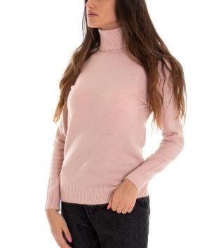Maglia Donna Collo Alto Tinta Unita Rosa Collo Alto Maglioncino Maniche Lunghe GIOSAL
