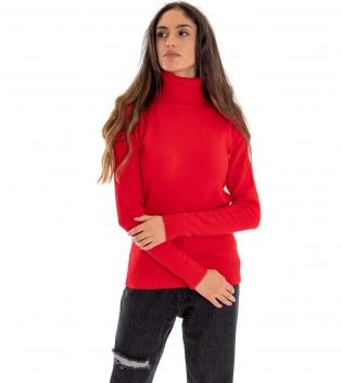 Maglia Donna Collo Alto Tinta Unita Rosso Collo Alto Maglioncino Maniche Lunghe GIOSAL