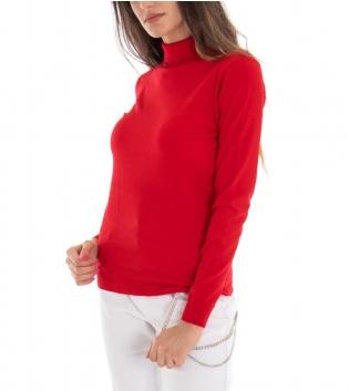 Maglioncino Donna Collo Alto Tinta Unita Rosso Casual Basic GIOSAL