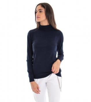 Maglioncino Donna Collo Alto Tinta Unita Blu Casual Basic GIOSAL
