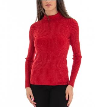 Maglioncino Donna Collo Alto Tinta Unita Rosso Lurex Maniche Lunghe Casual GIOSAL