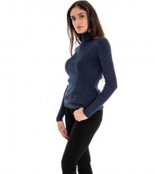 Maglioncino Donna Collo Alto Tinta Unita Blu Lurex Maniche Lunghe Casual GIOSAL