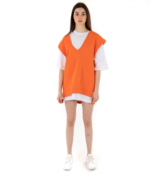 Gilet Donna Felpa Oversize Tinta Unita Arancione Giromaniche GIOSAL