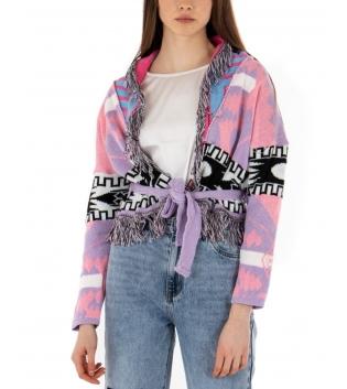 Cardigan Donna Maniche Lunghe Multicolore Sfrangiato Cintura GIOSAL