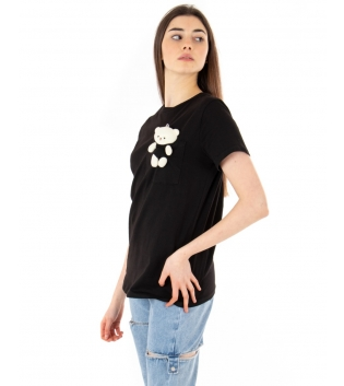 T-shirt Donna Maniche Corte Nera Teddy Girocollo Casual GIOSAL