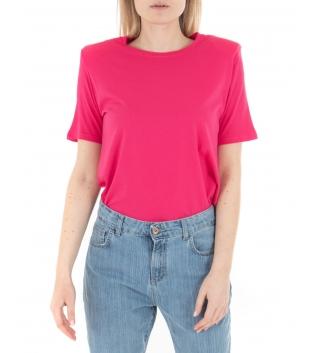 T-Shirt Donna Basic Maniche Corte Tinta Unita Fucsia Eiki Spalline Imbottite GIOSAL