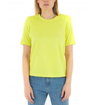 T-Shirt Donna Basic Maniche Corte Tinta Unita Gialla Eiki Spalline Imbottite GIOSAL