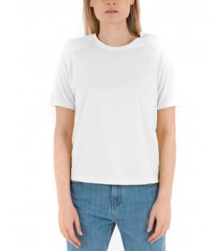 T-Shirt Donna Basic Maniche Corte Tinta Unita Bianca Eiki Spalline Imbottite GIOSAL