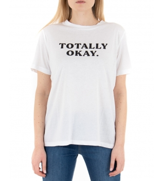 T-shirt Donna Eiki Bianca Stampa Scritta Maniche Corte Casual Basic GIOSAL