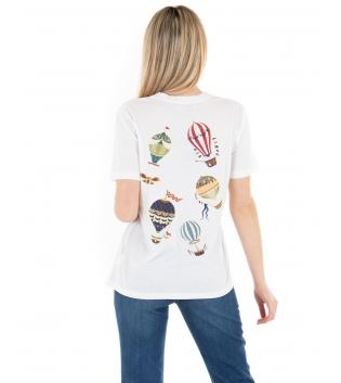 T-shirt Donna Eiki Bianca Stampa Mongolfiera Retro Maniche Corte Casual Basic GIOSAL