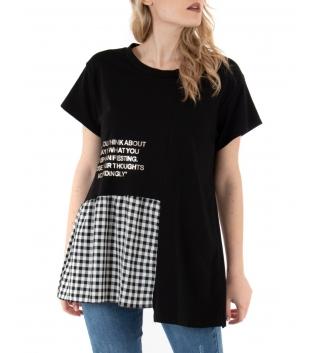 T-shirt Donna Maniche Corte Girocollo Nera Quadretti Casual Volant GIOSAL