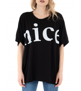 T-shirt Donna Nera Scritta Girocollo Maniche Corte Casual GIOSAL