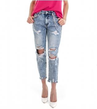 Pantalone Donna Lungo Jeans Denim Rotture Slavato Cinque Tasche GIOSAL
