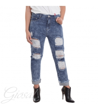 Jeans Donna Denim Vita Alta Bottone Zip Rotture Risvolto Frange Abrasioni Casual GIOSAL