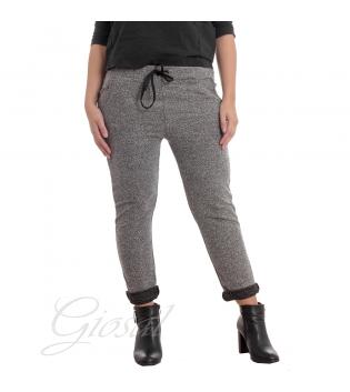 Pantalone Donna Pantatuta Elastico Laccetti Tasca America Melange Casual Comfort Casual GIOSAL