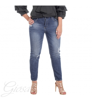Pantalone Donna Jeans Denim Cinque Tasche Alta Vita Zip Bottone Rotture Casual GIOSAL