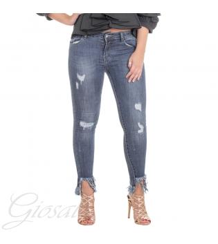 Pantalone Donna Jeans Denim Cinque Tasche Sfrangiato Rotture Casual GIOSAL