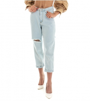 Pantalone Donna Lungo Jeans Denim Chiaro Rotture Vita Alta GIOSAL