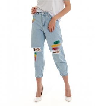 Pantalone Donna Lungo Jeans Denim Chiaro Rotture Vita Alta Pittura GIOSAL