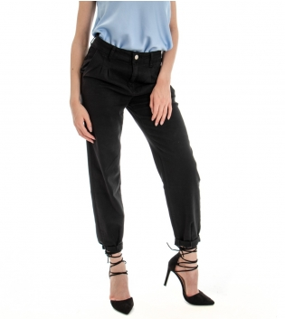 Pantalone Donna Lungo Tinta Unita Nero Pinces Tasca America GIOSAL