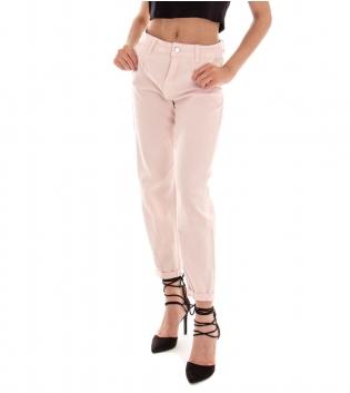 Pantalone Donna Lungo Tinta Unita Rosa Pinces Tasca America GIOSAL
