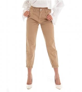 Pantalone Donna Lungo Tinta Unita Beige Pinces Tasca America GIOSAL