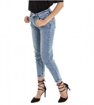 Pantalone Donna Lungo Jeans Denim Sfumato Cinque Tasche GIOSAL
