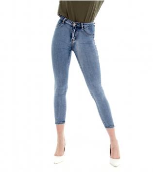 Pantalone Donna Lungo Jeans Denim Skinny Sfumato Cinque Tasche GIOSAL
