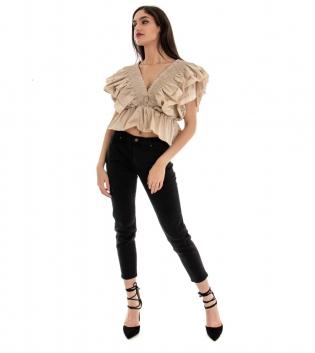 Pantalone Donna Lungo Tinta Unita Nero Slim GIOSAL