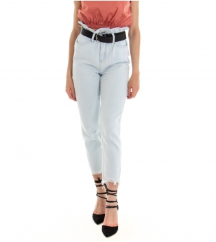 Pantalone Donna Lungo Jeans Denim Chiaro Caramella Vita Alta GIOSAL