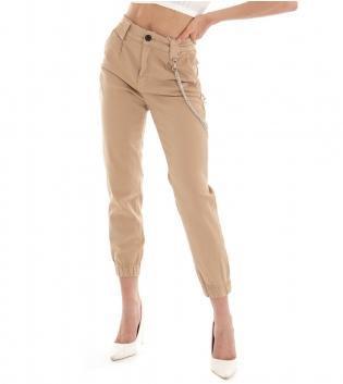 Pantalone Donna Lungo Tinta Unita Beige Pinces Tasche America GIOSAL