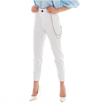 Pantalone Donna Lungo Tinta Unita Bianco Pinces Tasche America GIOSAL